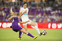 Orlando, FL - Saturday July 15, 2017: Rachel Hill, Yael Averbuch during a regular season National Women's Soccer League (NWSL) match between the Orlando Pride and FC Kansas City at Orlando City Stadium.