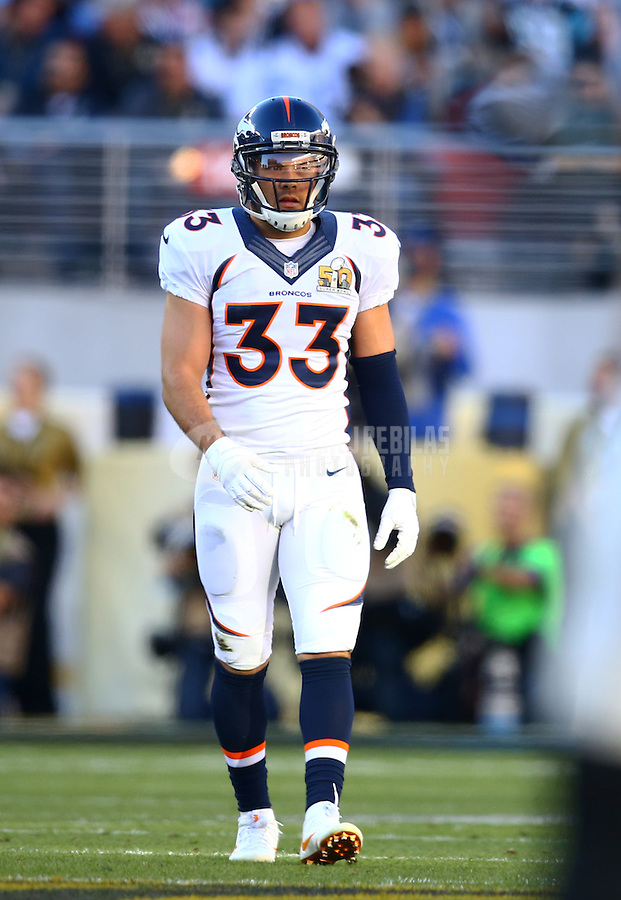 Feb 7, 2016; Santa Clara, CA, USA; Denver Broncos safety Shiloh Keo (33) against the Carolina Panthers in Super Bowl 50 at Levi's Stadium. Mandatory Credit: Mark J. Rebilas-USA TODAY Sports