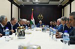 Palestinian President Mahmoud Abbas chairs a meeting of the Fatah Central Committee in the West Bank city of Ramallah, on September 23, 2017. Photo by Thaer Ganaim