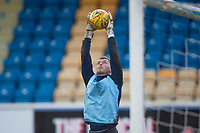 1st February 2020; Cappielow Park, Greenock, Inverclyde, Scotland; Scottish Championship Football, Greenock Morton versus Dundee Football Club; New Dundee signing Conor Hazard during the warm up before the match