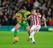 9th February 2019, bet365 Stadium, Stoke-on-Trent, England; EFL Championship football, Stoke City versus West Bromwich Albion; James McClean of Stoke City shoots as Ahmed Hegazy of West Bromwich Albion challenges for the ball