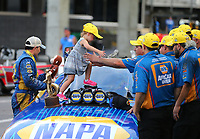 Jun 18, 2017; Bristol, TN, USA; NHRA funny car driver Ron Capps celebrates with crew after winning the Thunder Valley Nationals at Bristol Dragway. Mandatory Credit: Mark J. Rebilas-USA TODAY Sports
