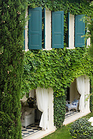 A series of blue shuttered windows surrounded by climbing plants above the loggia