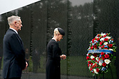 Cindy McCain, wife of, Sen. John McCain, R-Ariz., accompanied by Defense Secretary Jim Mattis, left, lays a wreath at the Vietnam Veterans Memorial in Washington, Saturday, Sept. 1, 2018, during a funeral procession to carry the casket of her husband from the U.S. Capitol to National Cathedral for a Memorial Service. McCain served as a Navy pilot during the Vietnam War and was a prisoner of war for more than five years. <br /> Credit: Andrew Harnik / Pool via CNP