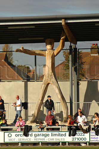 06.11.2010 FA Cup 1st Round from Princes Park,Dartford v Port Vale. The wooden man statue in Dartfords ground. Dartford and Port Vale drew 1-1