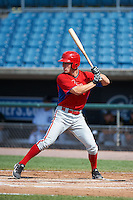 Jarret DeHart #14 of Shawnee High School in Medford, New Jersey playing for the Philadelphia Phillies scout team during the East Coast Pro Showcase at Alliance Bank Stadium on August 4, 2012 in Syracuse, New York.  (Mike Janes/Four Seam Images)