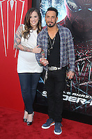 Rochelle Karidis and A.J. McLean at the premiere of Columbia Pictures' 'The Amazing Spider-Man' at the Regency Village Theatre on June 28, 2012 in Westwood, California. &copy; mpi22/MediaPunch Inc. *NORTEPHOTO.COM*<br />