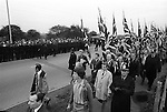 National FRont NF march through Birmingham suburb of Walsall North, during a by election. Socalist Workers party on other sire of the road..1970