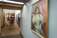 Painting of Mary Norton Clapp that hangs in the Academic Commons, near the border to the older wing of the library, Sept. 21, 2012.<br />