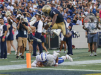 Annapolis, MD - October 7, 2017: Air Force Falcons quarterback Arion Worthman (2) falls short of the endzone during the game between Air Force and Navy at  Navy-Marine Corps Memorial Stadium in Annapolis, MD.   (Photo by Elliott Brown/Media Images International)