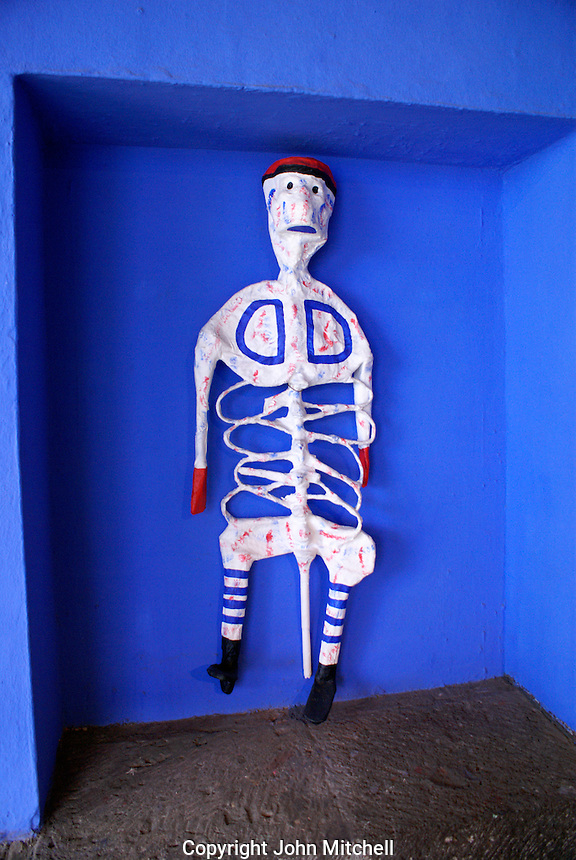 Papier mache skeleton at the Museo Frida Kahlo, also known as the Casa Azul, or Blue house, Coyoacan, Mexico City