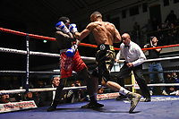 Philip Bowes (camouflage shorts) defeats Benson Nyilawila during a Boxing Show at York Hall on 2nd February 2019