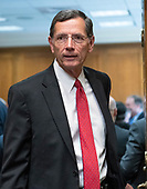"""United States Senator John Barrasso (Republican of Wyoming)  arrives to hear US Secretary of State Mike Pompeo testify before the US Senate Committee on Foreign Relations on """"An update on American Diplomacy to Advance our National Security Strategy"""" on Capitol Hill in Washington, DC on Wednesday, July 25, 2018.  Pompeo took questions on the Helsinki Summit with President Putin of Russia and progress on the denuclearization of North Korea.<br /> Credit: Ron Sachs / CNP"""