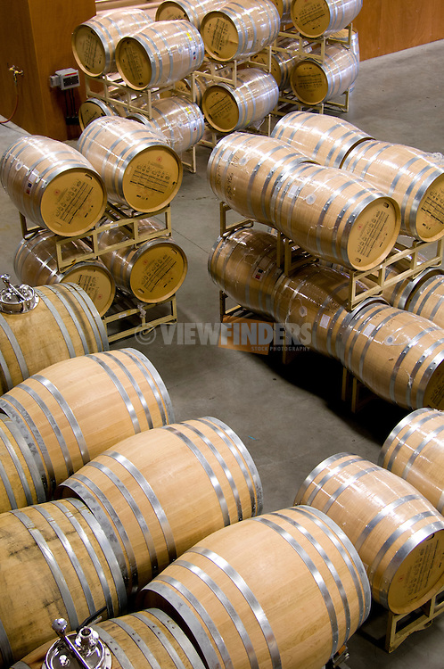 Barrels of wine stored for aging.