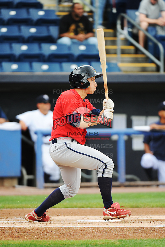 State College Spikes outfielder Jimmy Bosco (15) during game against the Staten Island Yankees at Richmond County Bank Ballpark at St.George on August 8, 2013 in Staten Island, NY.  Staten Island defeated State College 6-5.  (Tomasso DeRosa/Four Seam Images)