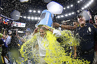 Head coach Jay Hopson of the Southern Miss Golden Eagles is dunked with Powerade after a game at the Mercedes-Benz Superdome on December 17, 2016 in New Orleans, Louisiana. Southern Miss Golden Eagles won 28-21.