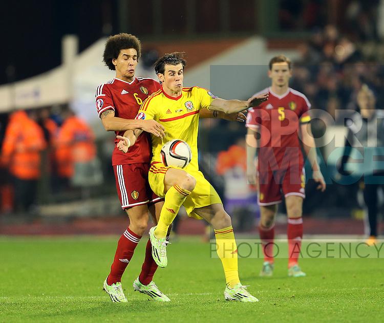 Belgium's Axel Witsel tussles with Wales' Gareth Bale<br /> <br /> - European Qualifier - Belgium vs Wales- Heysel Stadium - Brussels - Belgium - 16th November 2014  - Picture David Klein/Sportimage