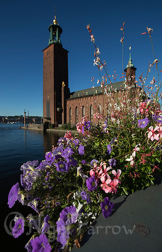 25 AUG 2013 - STOCKHOLM, SWE - Flowers decorate the bridge beside the Stadhuset, the City Hall in Stockholm, Sweden (PHOTO COPYRIGHT © 2013 NIGEL FARROW, ALL RIGHTS RESERVED)