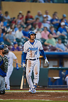 Humberto Arteaga (13) of the Omaha Storm Chasers bats against the Round Rock Express at Werner Park on May 27, 2018 in Papillion , Nebraska. Round Rock defeated Omaha 8-3. (Stephen Smith/Four Seam Images)