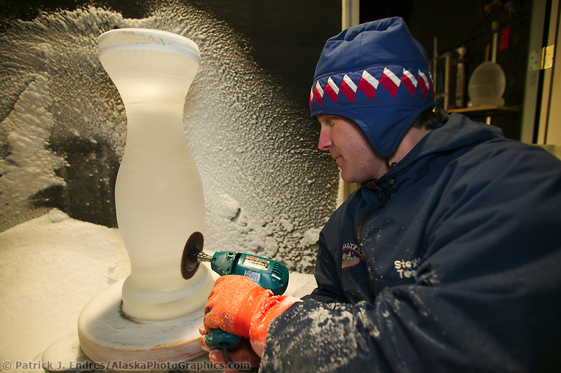 World Champion Ice Sculptor Steve Brice sculpts ice fixtures to be placed in the Aurora Ice Hotel at Chena Hot Springs Resort near Fairbanks, Alaska.