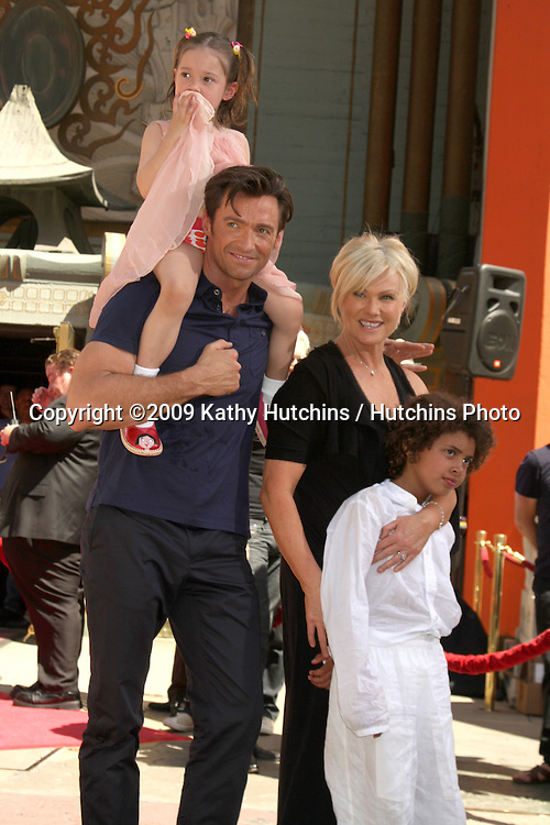 Hugh Jackman & wife Deborra-Lee Furness , with Daughter Ava , and Son Oscar at the Hugh Jackman Handprint & Footprint Ceremony at Grauman's Chinese Theater Forecourt in Los Angeles,  California on April 21, 2009.©2009 Kathy Hutchins / Hutchins Photo....                .