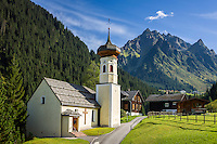 Austria, Vorarlberg, Montafon, St. Gallenkirch: district and mountain village Gargellen with church St Maria Magdalena | Oesterreich, Vorarlberg, Montafon, St. Gallenkirch: Ortsteil Bergdorf Gargellen mit Kuratienkirche St. Maria Magdalena