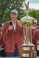 Justin Rose (GBR), sporting his new plaid jacket speaks during the trophy presentation after winning the Fort Worth Invitational, The Colonial, at Fort Worth, Texas, USA. 5/27/2018.<br /> Picture: Golffile | Ken Murray<br /> <br /> All photo usage must carry mandatory copyright credit (© Golffile | Ken Murray)