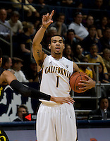 Justin Cobbs of California calls a play during the game against Oregon at Haas Pavilion in Berkeley, California on February 16th, 2012.  California defeated Oregon, 86-83.