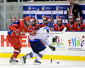 Sergey Chvanov (Russia - 9), Mikael Granlund (Finland - 11) - Russia defeated Finland 4-0 at the Urban Plains Center in Fargo, North Dakota, on Friday, April 17, 2009, in their semi-final match during the 2009 World Under 18 Championship.