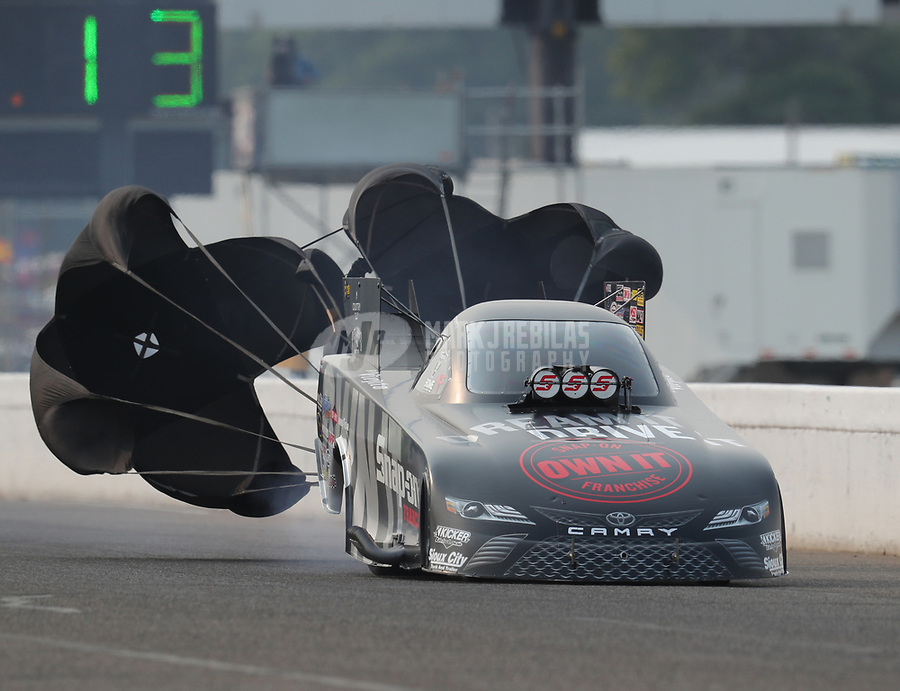 Aug 18, 2018; Brainerd, MN, USA; NHRA funny car driver Cruz Pedregon during qualifying for the Lucas Oil Nationals at Brainerd International Raceway. Mandatory Credit: Mark J. Rebilas-USA TODAY Sports