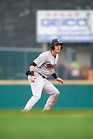 Scranton/Wilkes-Barre RailRiders left fielder Zack Zehner (27) leads off second base during a game against the Rochester Red Wings on June 24, 2018 at Frontier Field in Rochester, New York.  The game was suspended in the fourth inning due to inclement weather.  (Mike Janes/Four Seam Images)