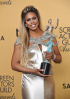 Laverne Cox at the 2015 Screen Actors Guild  Awards at the Shrine Auditorium.<br /> January 25, 2015  Los Angeles, CA<br /> Picture: Paul Smith / Featureflash