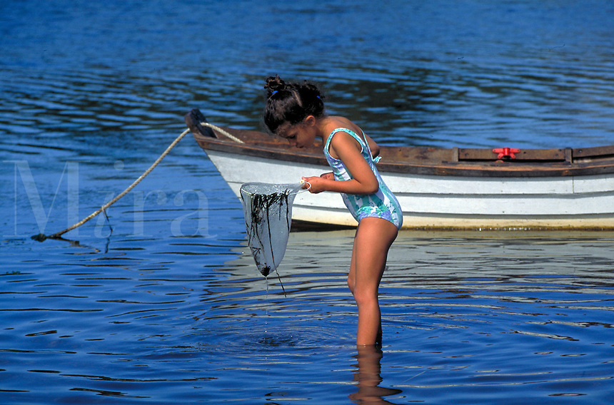 Girl wading in shallow water searching for minnows with a net, Cape Cod, MA