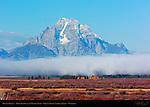 Mount Moran, Morning Fog over Willow Flats, Grand Teton National Park, Wyoming