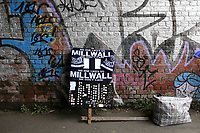 Scarves and badges for sale outside the ground at Millwall during Millwall vs Hull City, Emirates FA Cup Football at The Den on 6th January 2019