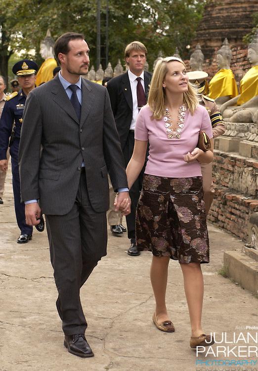 Crown Prince Haakon & Crown Princess Mette-Marit of Norway's visit to Thailand..Visit to Wat Yai Chai Mongkol Ancient Monastry..