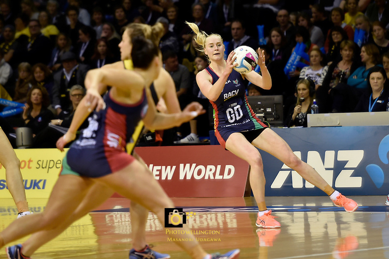 Vixens' Jo Weston in action during the ANZ Championship - Central Pulse v Vixens at TSB Bank Arena, Wellington, New Zealand on Monday 4 July 2016. <br /> Photo by Masanori Udagawa. <br /> www.photowellington.photoshelter.com.