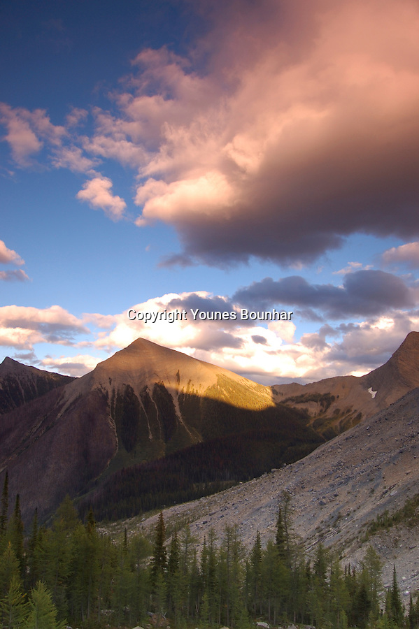 Colorful Storm clouds at sunset over floe lake trail