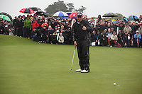 Shane Lowry(AM)winner of the irish open after 3 playoff holes against Robert Rock at the final round at the 3 Irish open in Co Louth Golf Club..Pictured on the 18th first playoff after missing his putt..Photo: Fran Caffrey/www.golffile.ie..