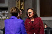 United States Senator Deb Fischer (Republican of Nebraska) speaks to Secretary of the Air Force Barbara Barrett prior to her testimony before the United States Senate Committee on Armed Services at the U.S. Capitol in Washington D.C., U.S., on Tuesday, December 3, 2019.  The panel discussed reports of substandard housing conditions for U.S. service members. <br /> <br /> Credit: Stefani Reynolds / CNP