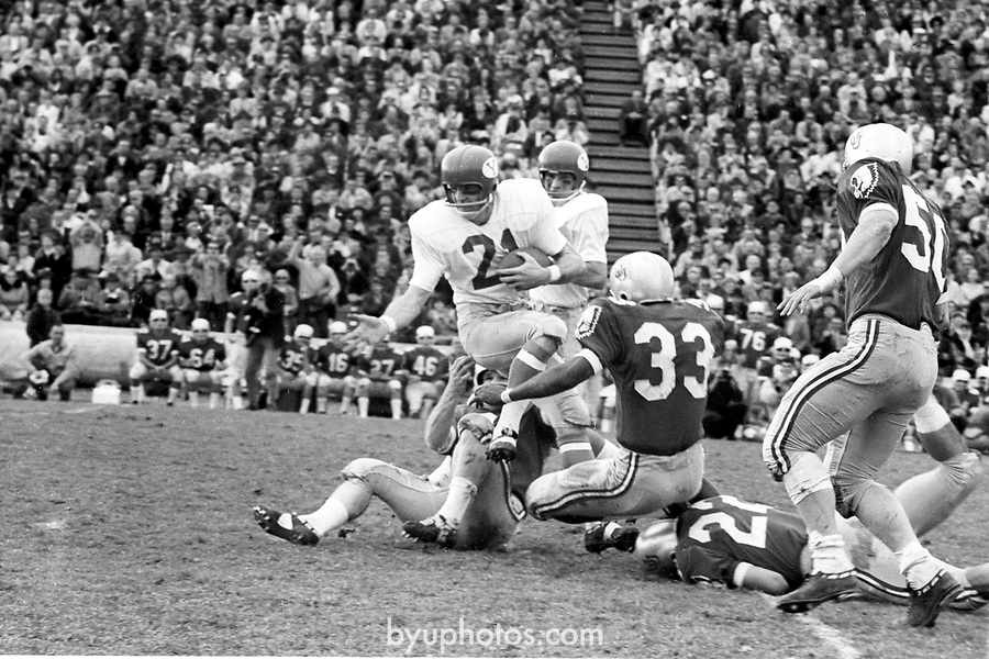FTB 06 A 12 Utah<br /> <br /> Football BYU-Utah (at SLC), 21 Casey Boyett<br /> <br /> Nov. 12, 1966<br /> <br /> Box Number: 6373<br /> <br /> Photo by: Hal Williams/BYU<br /> <br /> Copyright BYU PHOTO 2008<br /> All Rights Reserved<br /> 801-422-7322<br /> photo@byu.edu