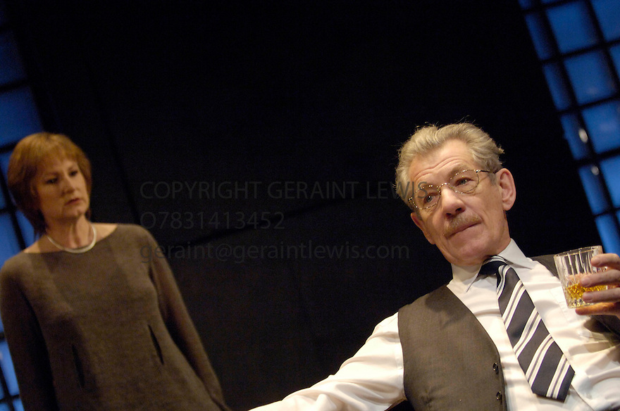 The Cut by Mark Ravenhill directed by Michael Grandage. With Ian McKellen,Deborah Findlay. Opens at the Donmar Theatre on 1/3/06 CREDIT Geraint Lewis