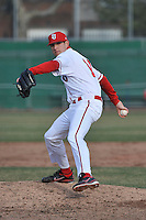 St.John's Red Storm pitcher Matt Carasiti (11)  during a game vs. the Cincinnati Bearcats at Jack Kaiser Stadium in Queens, NY;  March 25, 2011.  St. John's defeated Cincinnati 3-2.  Photo By Tomasso DeRosa/Four Seam Images