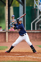 Elizabethton Twins center fielder Gilberto Celestino (25) at bat during a game against the Bristol Pirates on July 29, 2018 at Joe O'Brien Field in Elizabethton, Tennessee.  Bristol defeated Elizabethton 7-4.  (Mike Janes/Four Seam Images)