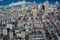 Quebec city's skyline is pictured from West to East in this aerial photo November 11, 2009. In this picture can be seen St-Jean-Baptiste district, Montcalm district Complexe G (edifice Marie-Guyard), Hotel Delta, Hotel Hilton, Chateau Frontenac, Bunge grain Silo and the St-Lawrence river.