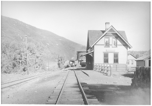 Rare shot of Hesperus RGS depot with Victor Miller's special train halted in the distance.<br /> RGS  Hesperus, CO  Taken by Barriger, John W. III - 7/3/1938