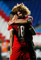 CALI -COLOMBIA-27-11-2014. Stiven Tapiero (Der) y Cristian Montaño (Izq)jugadores del América de Cali  celebran un gol anotado por el segundo al Deportivo Rionegro durante partido por la fecha 6 de los cuadrangulares finales del Torneo Postobón II 2014 jugado en el estadio Pacual Guerrero de la ciudad de Cali./ Stiven Tapiero (R) and Cristian Montaño (L) players of America de Cali celebrate a goal scored by the second one to Deportivo Rionegro during the match for the 6th date of final Quadrangular of Postobon Tournament II 2014 at Pascual Guerrero stadium in Cali city. Photo: VizzorImage/STR