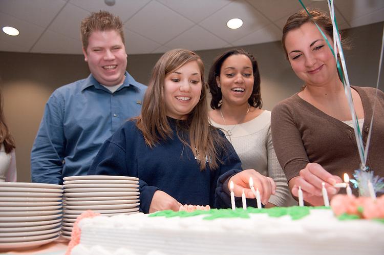18633Leona Hughes' 99th  birthday celebration with students at Baker Univ. Center in the Amanda J. Cunningham Leadership Center...Model Release on File