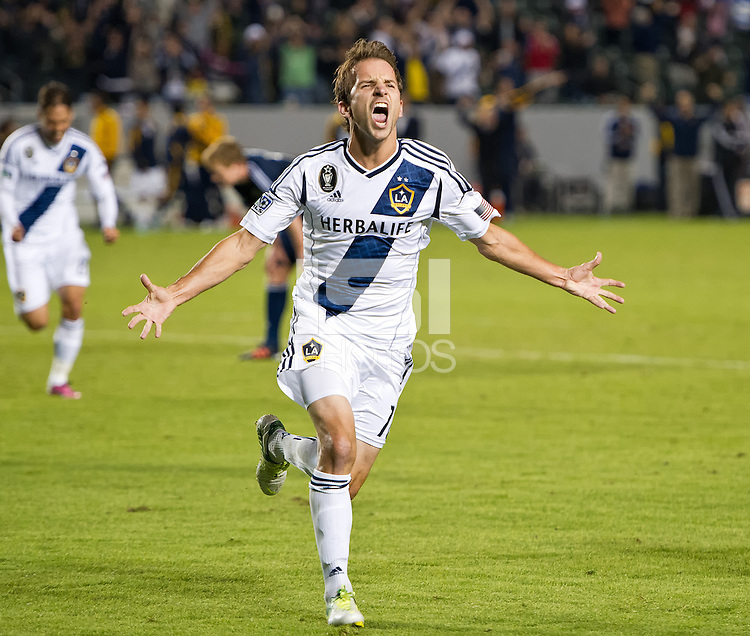 CARSON, CA - November 1, 2012: LA Galaxy midfielder Mike Magee (18) celebrates his goal during the LA Galaxy vs the Vancouver Whitecaps FC at the Home Depot Center in Carson, California. Final score LA Galaxy 2, Vancouver Whitecaps FC 1.