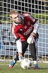 Nederland, Amsterdam, 19 oktober  2012.Seizoen 2012-2013.Training Ajax.Jasper Cillessen keeper van Ajax in actie met de bal